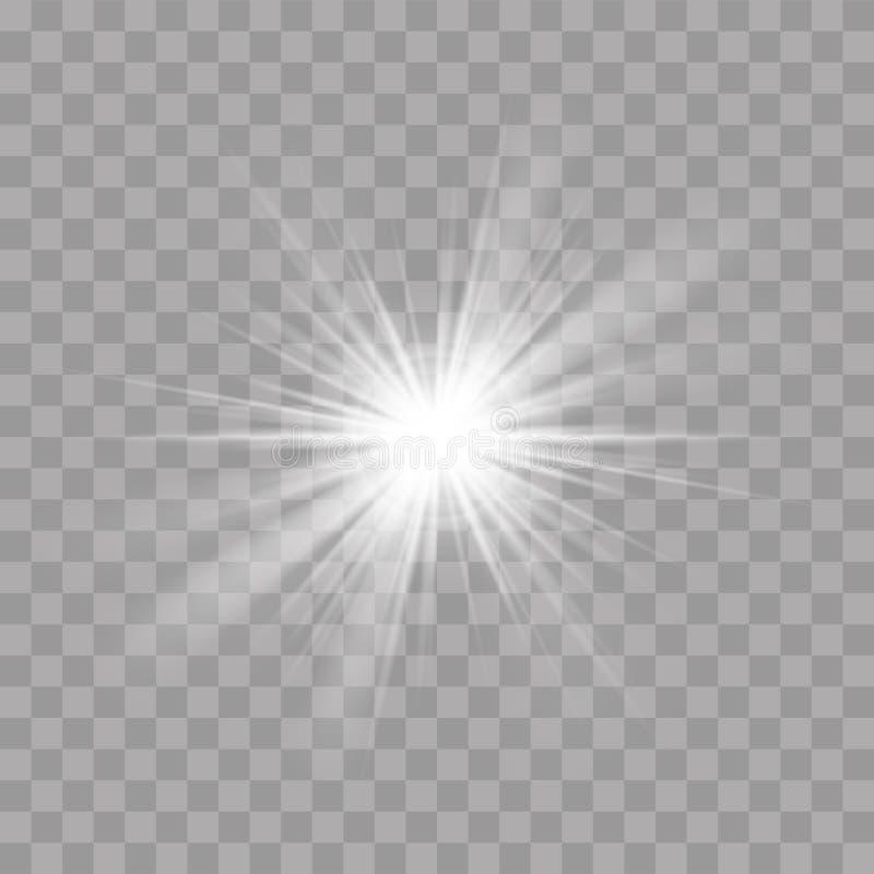 Efeito instantâneo do esplendor do brilho da estrela do sol dos raios claros ilustração stock