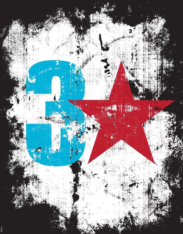 Efeito número três de Grunge mais uma estrela vermelha ilustração stock
