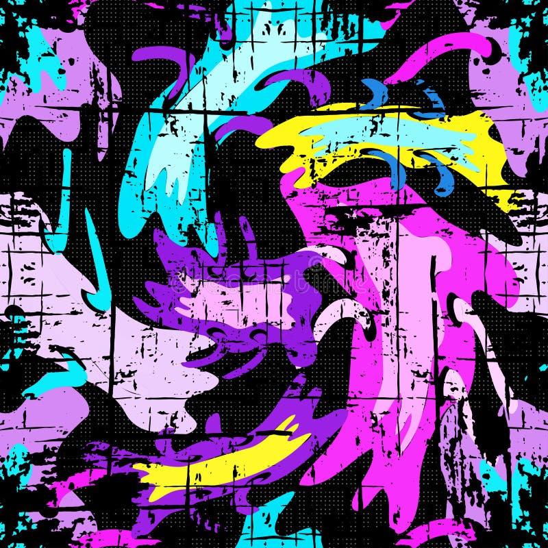 Efeito sem emenda geométrico do grunge do teste padrão dos grafittis brilhantes ilustração royalty free