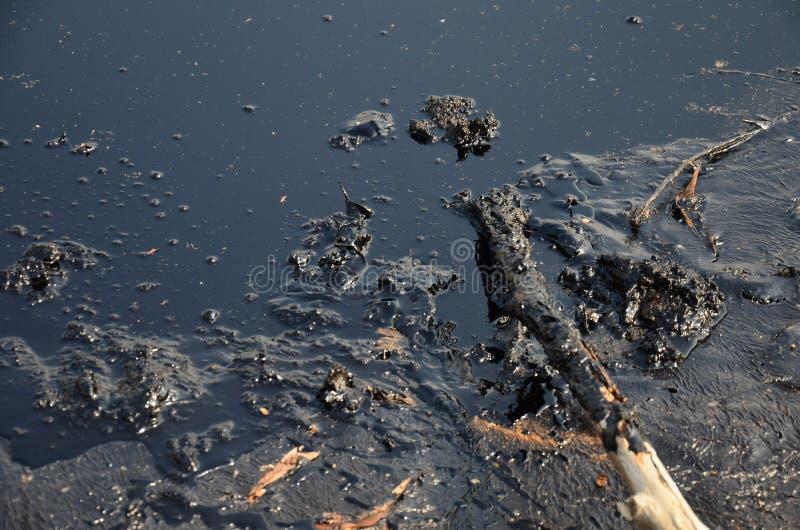 Efeitos ambientais da água contaminada com os produtos químicos e o óleo fotografia de stock royalty free