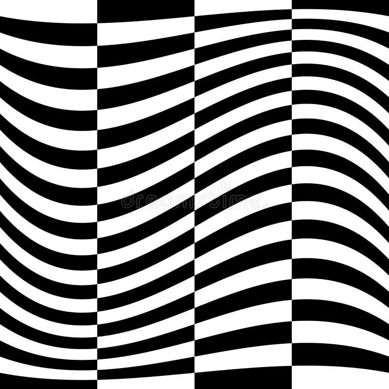 Efeitos da distorção em vários testes padrões Textu deformado geométrico ilustração stock