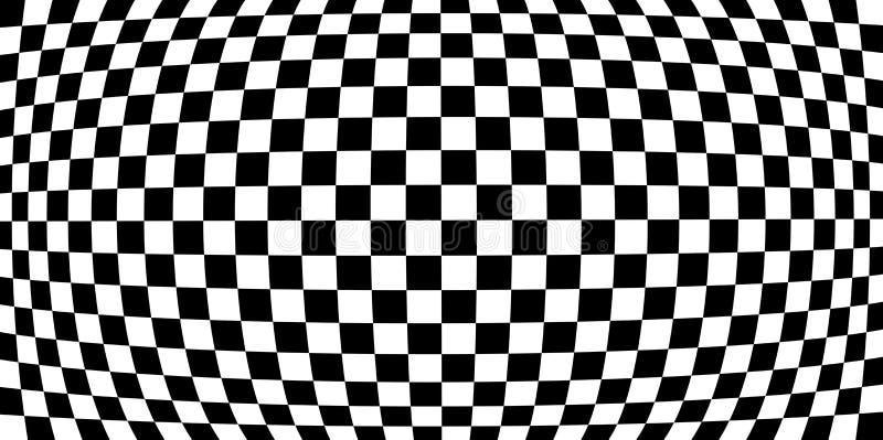 Efeitos da distorção da lente de aumento no teste padrão quadriculado ilustração stock
