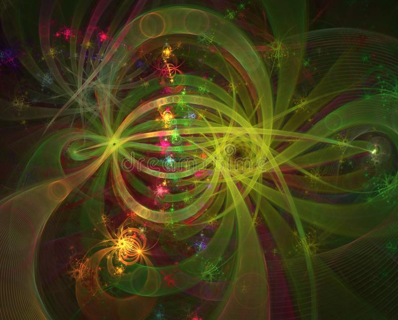 Efeitos da luz da cor Fogos de artifício e fios abstratos do brilho Fogos-de-artifício e celebração ilustração royalty free