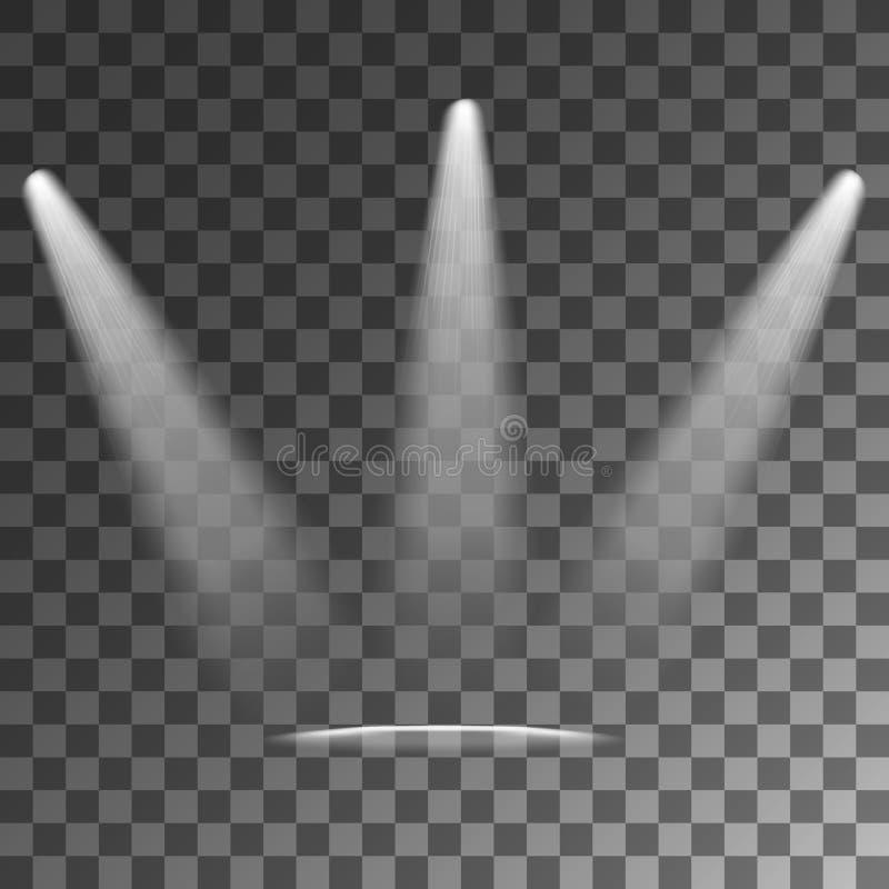 Efeitos da luz do vetor dos projetores ilustração stock