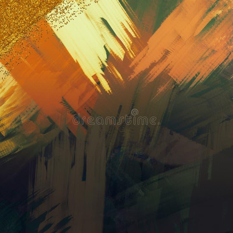 Efeitos de vidro Brilho dispersado no fundo Fundo de pintura da lona Projeto temático da decoração Os cursos da escova pintaram a ilustração stock