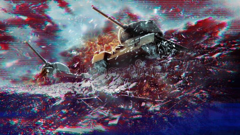 Efeitos do pulso aleatório do conceito da guerra e do conflito imagem de stock