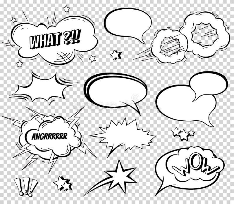 Efekta dźwiękowego ustalony projekt dla komiksu Komiksu uderzenia chmura, pow dźwięk, bombowy pow dźwięk bąble gawędzą mowy inkas royalty ilustracja
