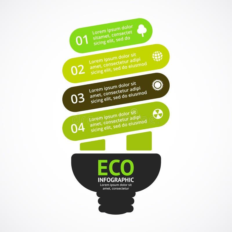 efektywne światła żarówki energii Wektorowych strzała zielony eco infographic Ekologia diagram, wykres, prezentacja, mapa organic ilustracji