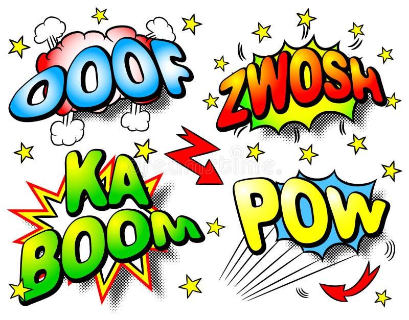 Efetue bolhas com ooof, zwosh, crescimento do ka, prisioneiro de guerra ilustração stock
