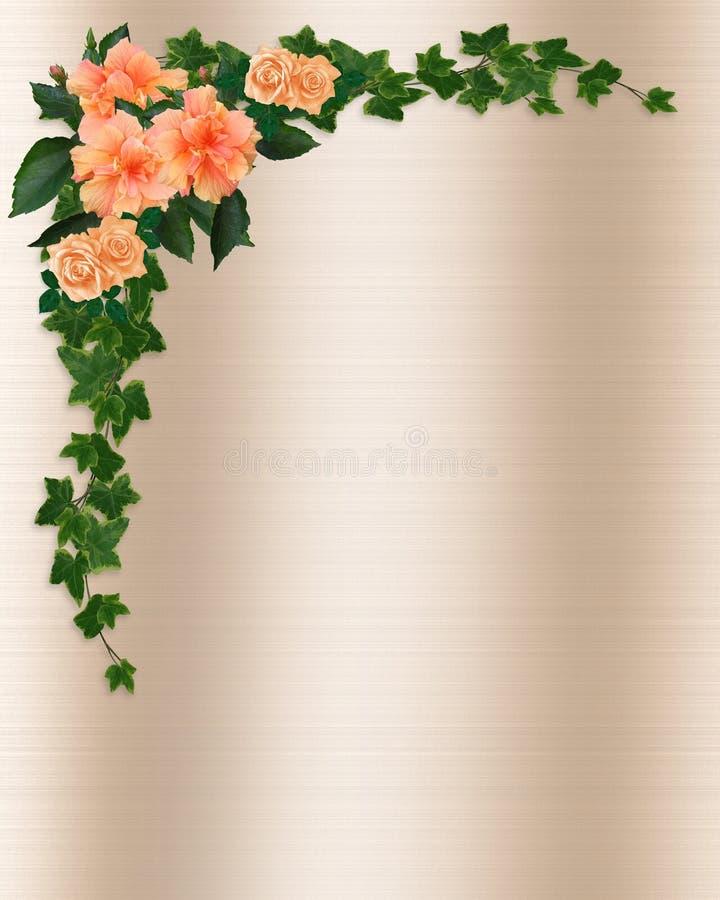 Efeu-, Hibiscus-und Rose-Schablone stock abbildung