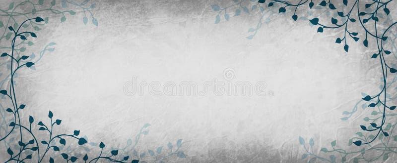 Efeuweinblatthintergrund mit herein dunkelblauem Grün auf Grenze mit leerem Hintergrund des Silberweißes in der Mitte, Handgezoge stock abbildung