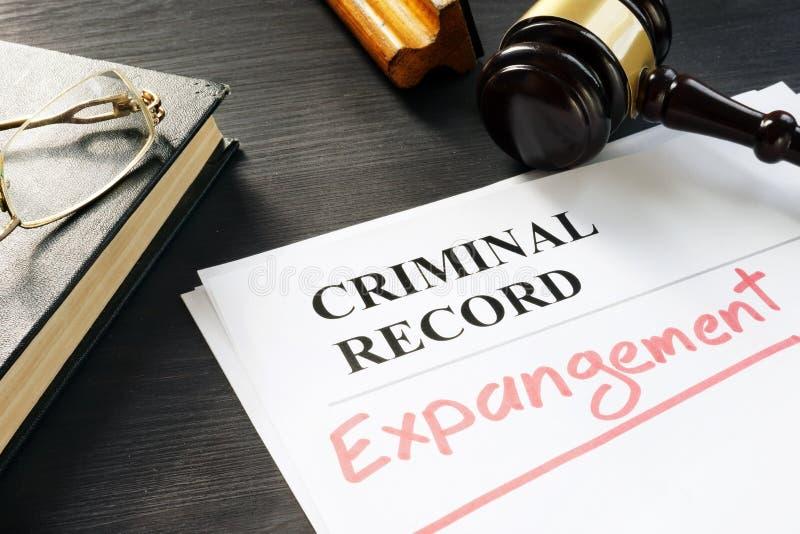Effacez du casier judiciaire Expungement écrit sur un document photo stock