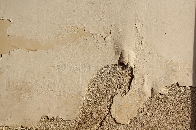 Effect of ascensional humidity on plaster stock photo