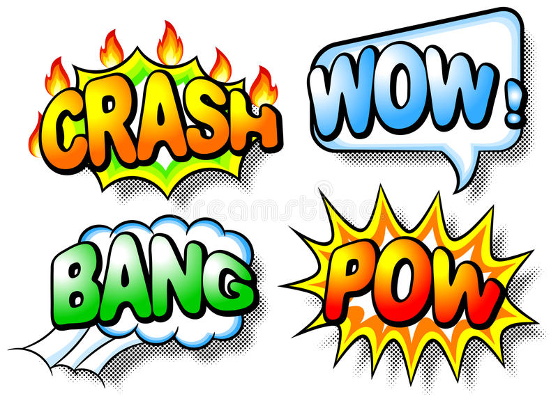 Download Effect Bubbles With Chrash, Wow, Bang And Pow Stock Vector - Image: 32674918