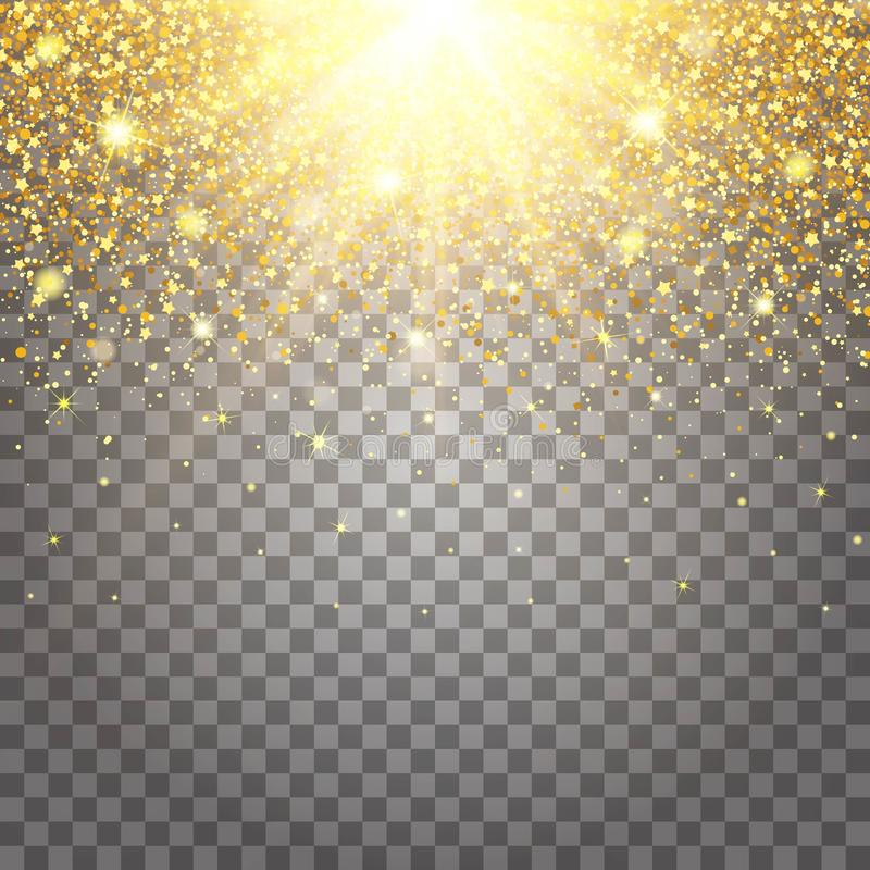 Effect Of Flying Parts Gold Glitter Luxury Rich Design Background Stock Illustration