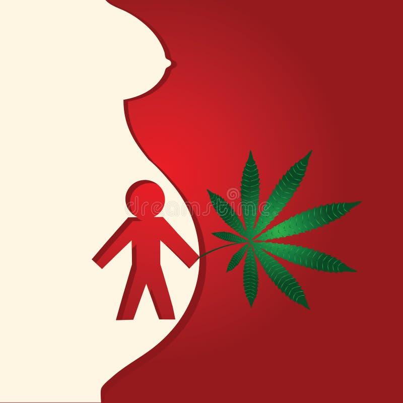 Effect van drugs op zwanger royalty-vrije illustratie