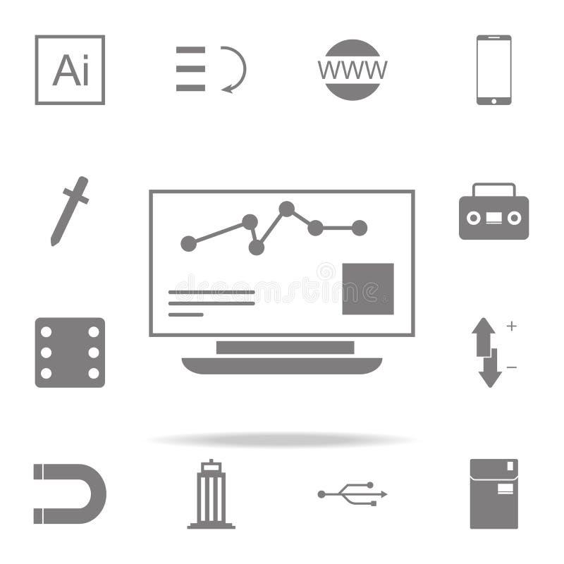 Effectenbeurs Controlepictogram voor Web wordt geplaatst dat en het mobiele algemene begrip van Webpictogrammen stock illustratie