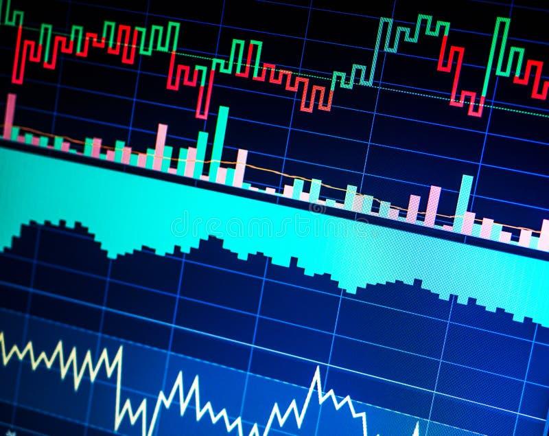 Effectenbeurs en andere financiënthema's Het Concept van financiëngegevens handel stock foto