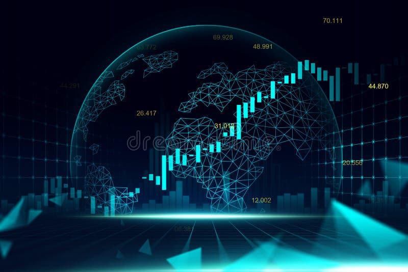Effectenbeurs of forex handelgrafiek in futuristisch concept royalty-vrije stock afbeelding