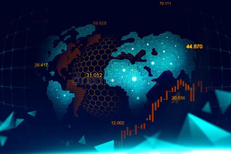 Effectenbeurs of forex handelgrafiek in futuristisch concept royalty-vrije stock afbeeldingen