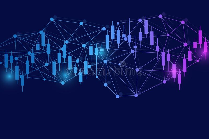 Effectenbeurs of forex handelgrafiek Grafiek op Abstracte de financiënachtergrond van de financiële markt vectorillustratie royalty-vrije illustratie