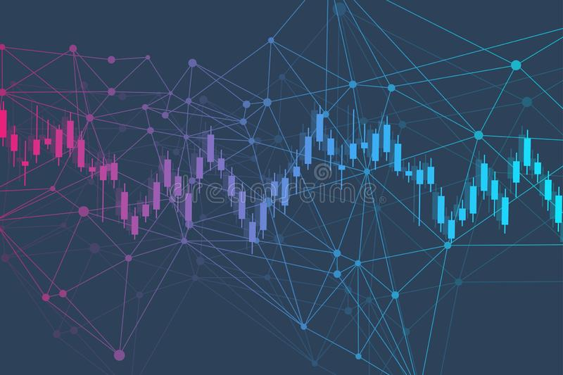 Effectenbeurs of forex handelgrafiek Grafiek op Abstracte de financiënachtergrond van de financiële markt vectorillustratie vector illustratie