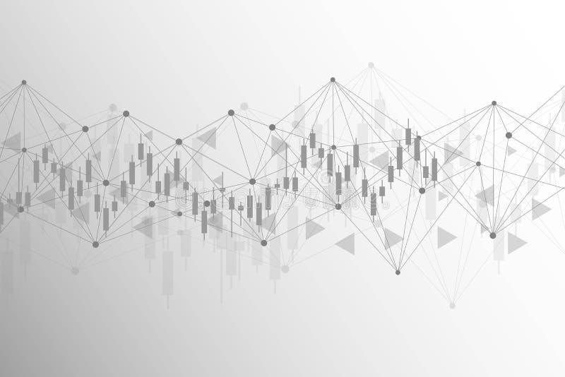 Effectenbeurs of forex handelgrafiek Grafiek op Abstracte de financi?nachtergrond van de financi?le markt vectorillustratie stock illustratie