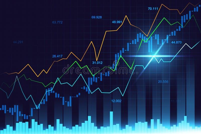Effectenbeurs of forex handelgrafiek in grafisch concept royalty-vrije stock afbeeldingen