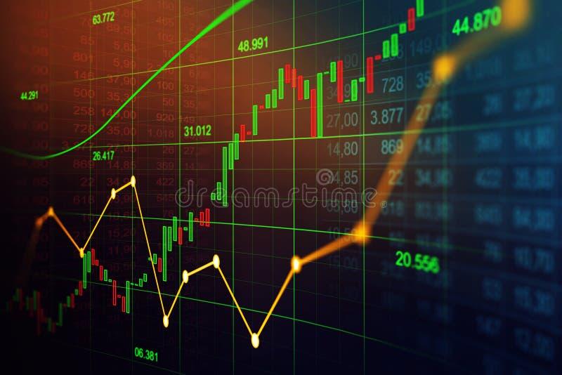 Effectenbeurs of forex handelgrafiek in grafisch concept royalty-vrije stock afbeelding