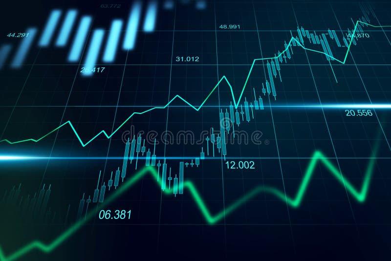 Effectenbeurs of forex handelgrafiek in grafisch geschikt concept royalty-vrije stock foto's