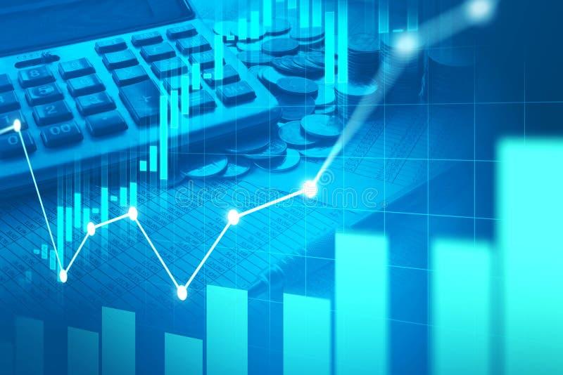 Effectenbeurs of forex handelgrafiek in grafische dubbele blootstelling royalty-vrije stock afbeelding