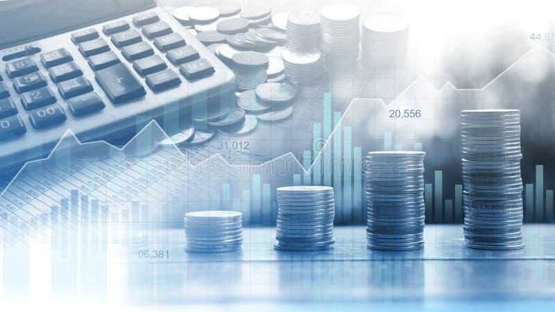 Effectenbeurs of forex handelgrafiek in grafische dubbele blootstelling c royalty-vrije stock afbeelding