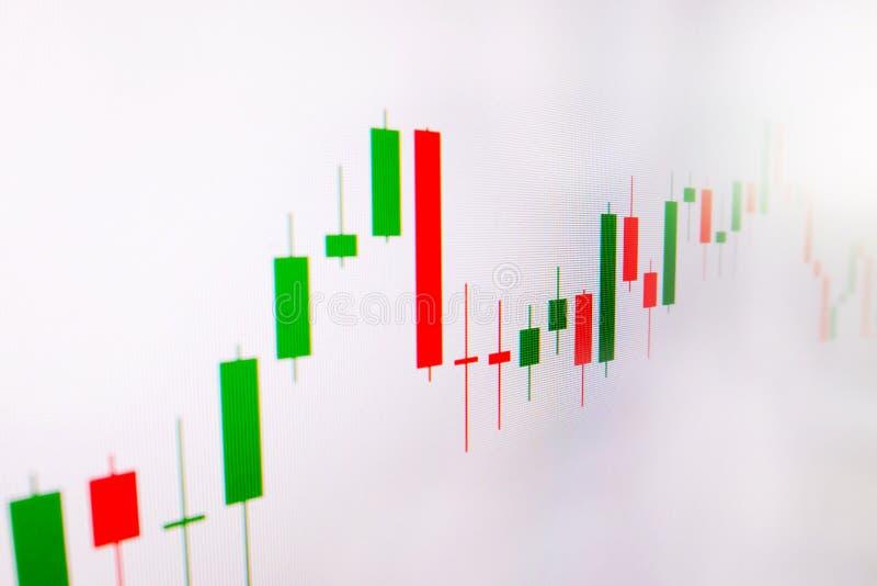 Effectenbeurs groene en rode grafiek met witte achtergrond, Forex markt, handel royalty-vrije stock afbeelding