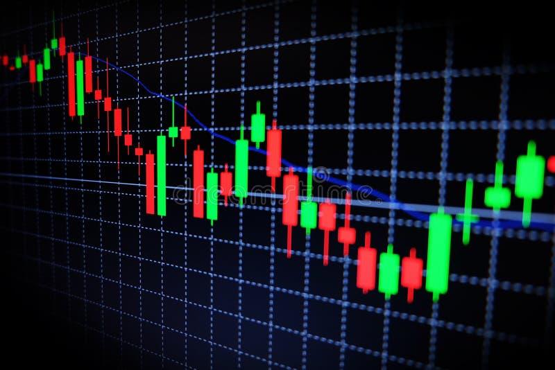Effectenbeurs groene en rode grafiek met zwarte achtergrond, Forex markt, handel stock afbeeldingen