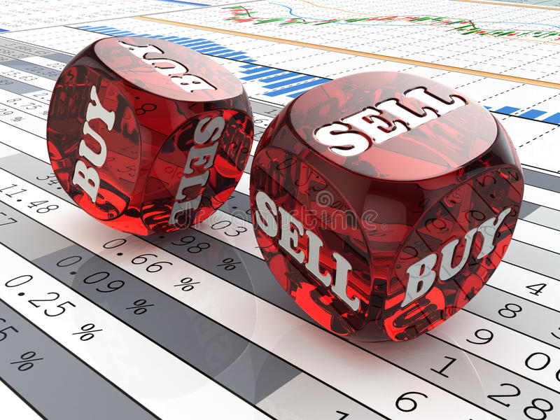 Effectenbeursconcept. Dobbel op financiële grafiek. stock illustratie