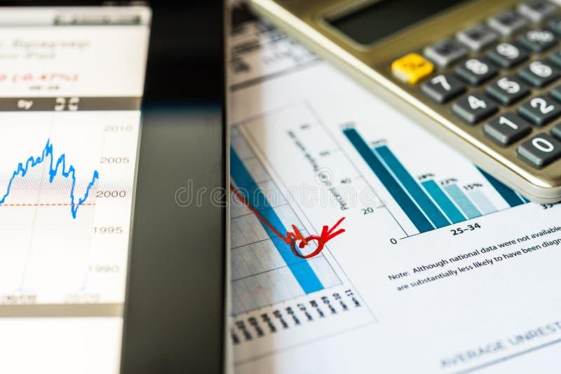Effectenbeursdaling, analyse van de marktgegevens stock afbeelding
