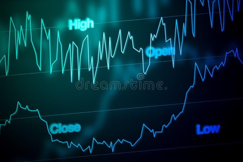 Effectenbeursgrafiek in Blauw royalty-vrije stock afbeelding