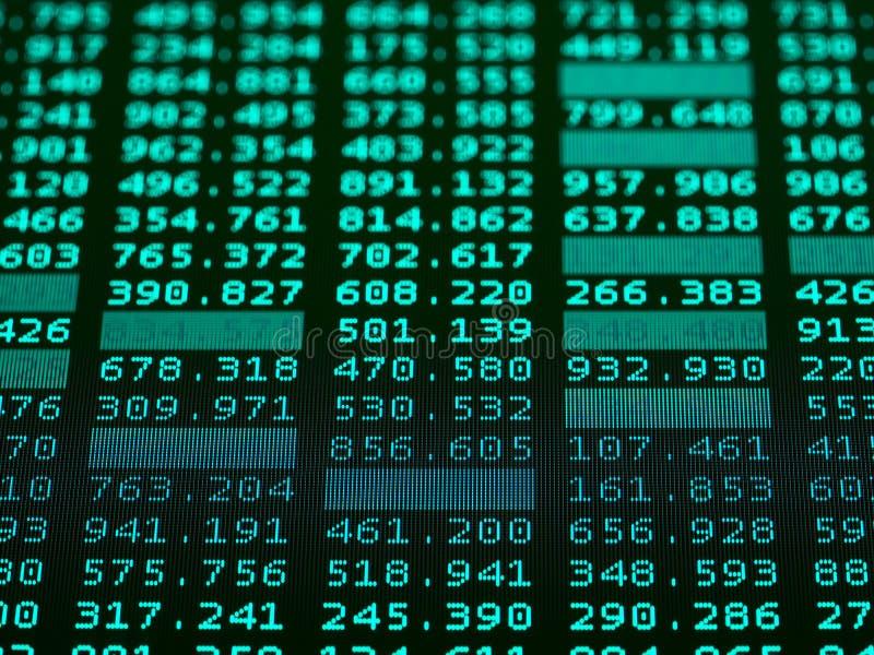 Effectenbeursgrafiek, effectenbeursgegevens over vertoning royalty-vrije stock afbeeldingen