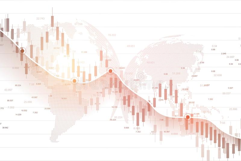 Effectenbeursgrafiek of forex handelgrafiek voor zaken en financiële concepten Abstracte financiëninvestering als achtergrond of stock illustratie