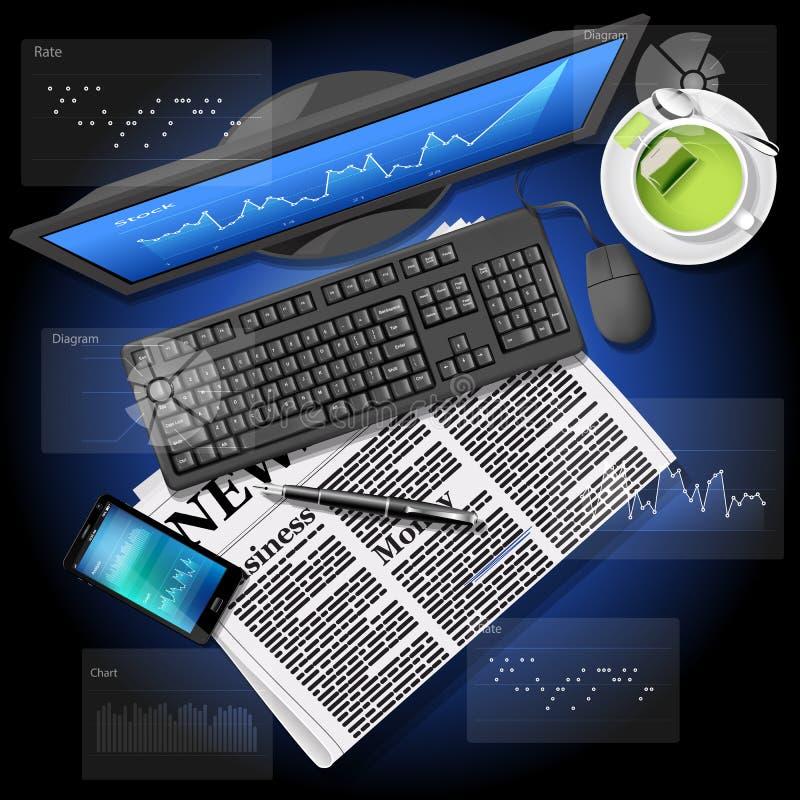 Effectenbeursgrafiek op het computerscherm en mobiele telefoon met nieuws royalty-vrije illustratie