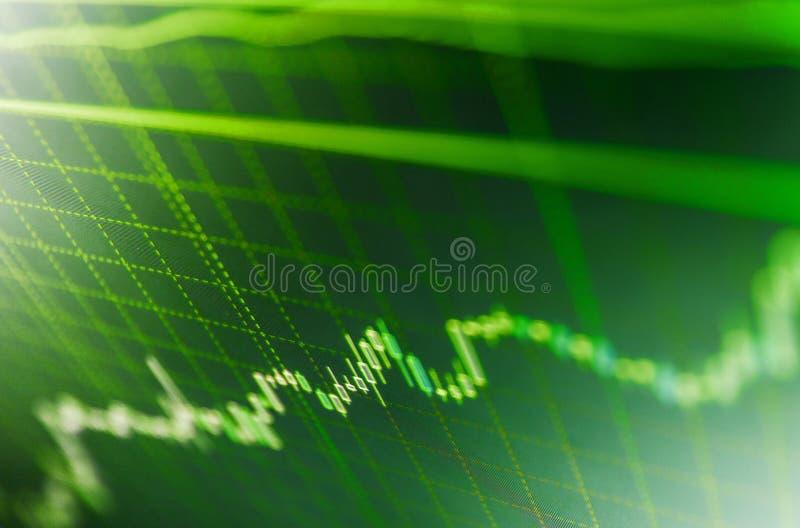 Effectenbeursgrafiek op LCD het scherm Het blauwe scherm van financiëngegevens stock fotografie