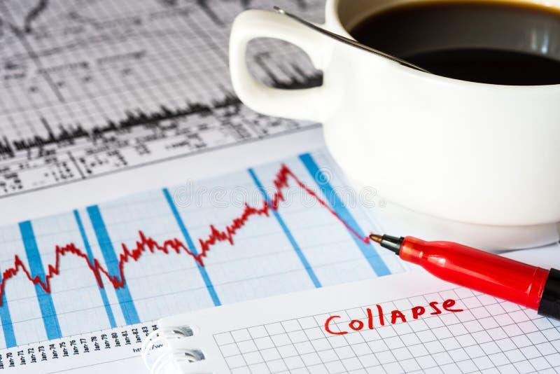 Effectenbeursneerstorting, analyse van de marktgegevens stock foto's