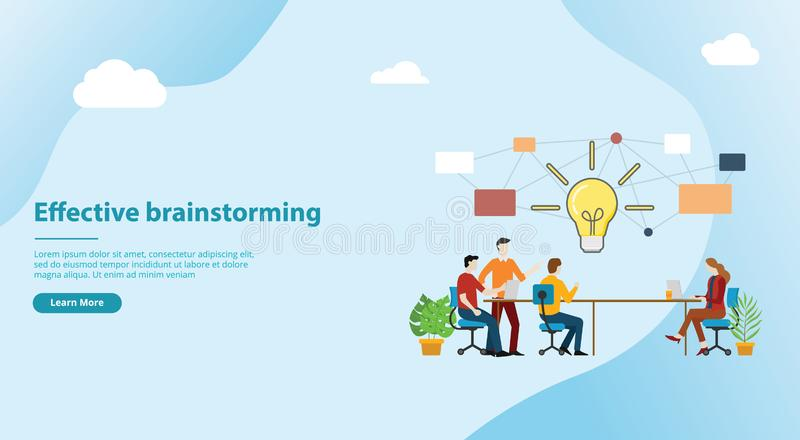 Effective brainstorming concept for website template banner design with team on the table discuss idea together - vector vector illustration