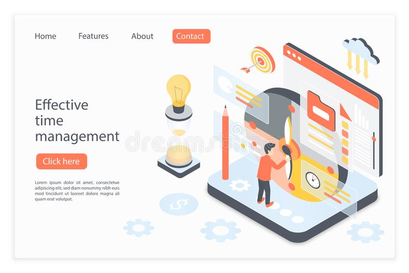 Effective time management landing page isometric vector template stock illustration