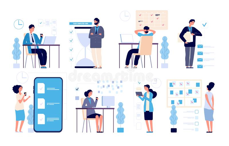 Effective time management. Man managed tasks, planning strategy organized activities schedule isolated vector characters. Illustration management business royalty free illustration