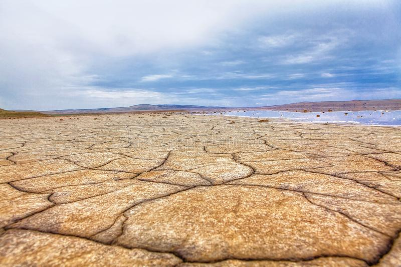 Dried lake landscape. Effects of climate change , landscape of dried lake royalty free stock images