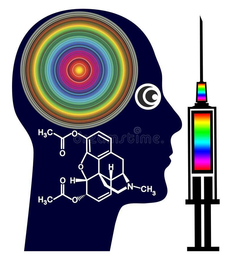 The effects of heroin use. Man is feeling a surge of euphoria as soon as morphine enter the brain, conceptual illustration with the chemical formula of heroin royalty free illustration