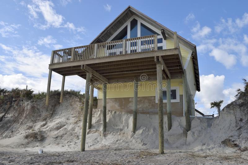 Effects of Hurricane at Vilano Beach. Cracks and erosion around the foundations of a home at Vilano Beach, Florida, USA, caused by Hurricane Matthew on 7th royalty free stock photography
