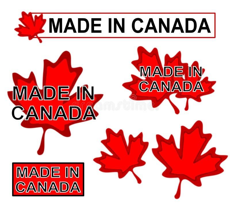 Effectué dans des étiquettes de produit du Canada illustration de vecteur