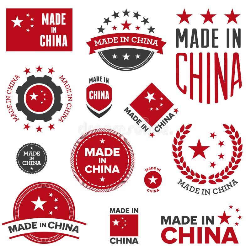 Effectué dans des conceptions de la Chine illustration stock